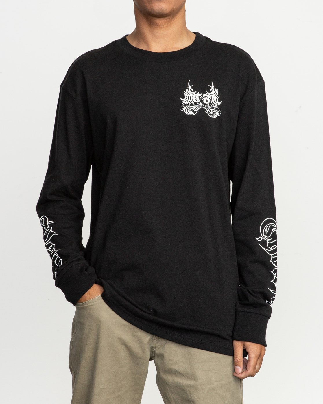 3 Fletcher Tribe Long Sleeve T-Shirt Black M492TRFT RVCA