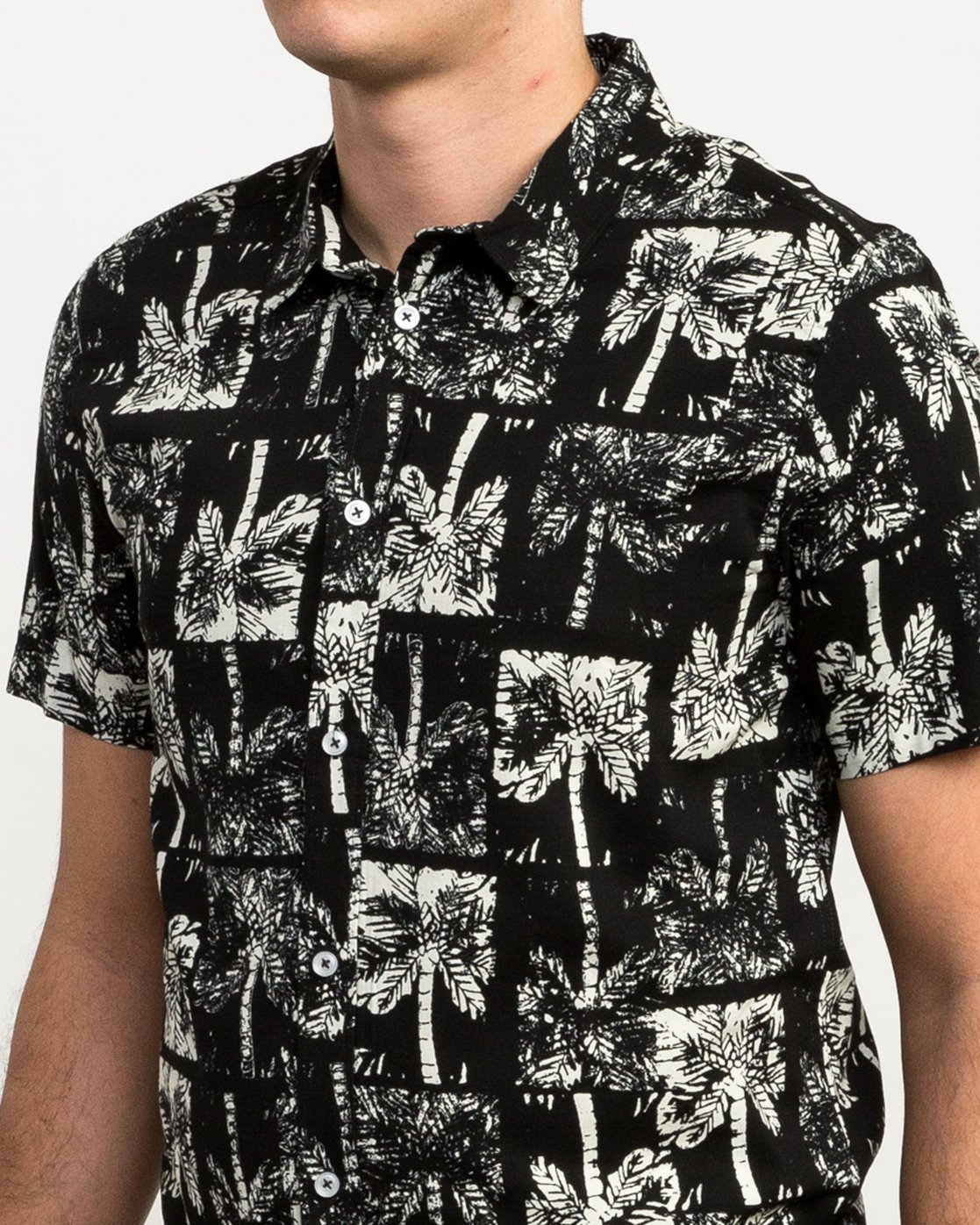 4 Oblow Palms Button-Up Shirt Black M501QROP RVCA