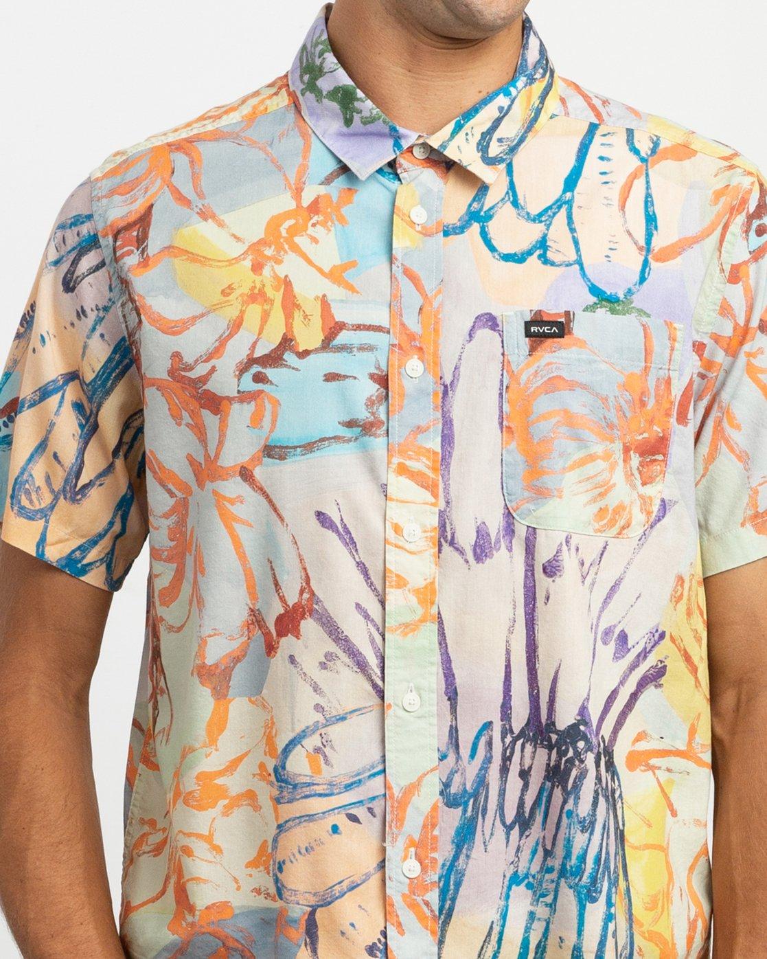 4 Sage Vaughn Floral Button-Up Shirt Multicolor M501TRVF RVCA