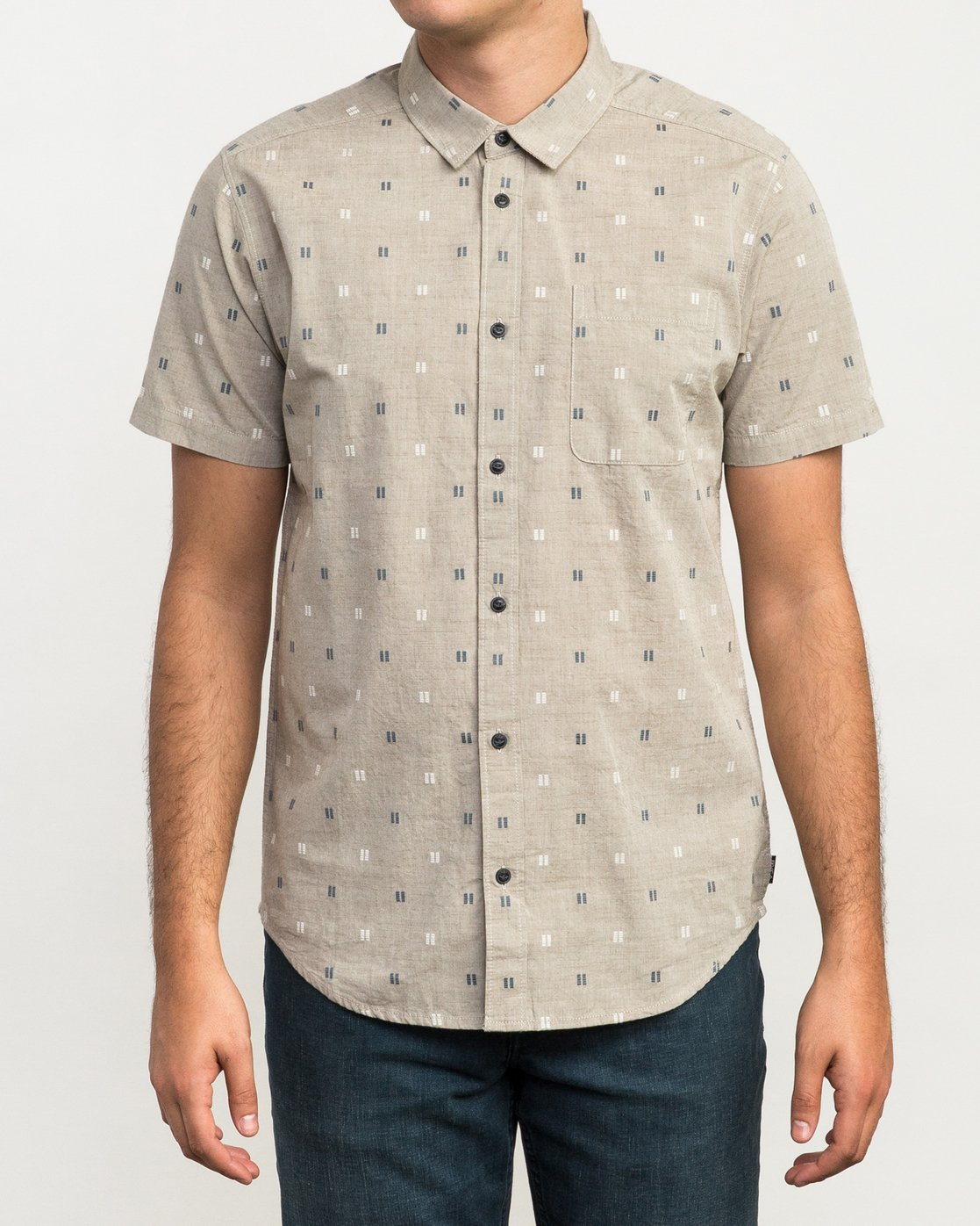 1 And Sons Printed Button-Up Shirt Beige M506QRAN RVCA