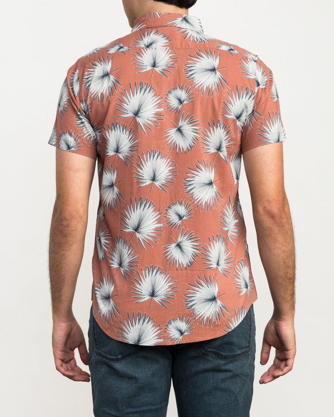 3 Palms Printed Button-Up Shirt Brown M512QRPA RVCA
