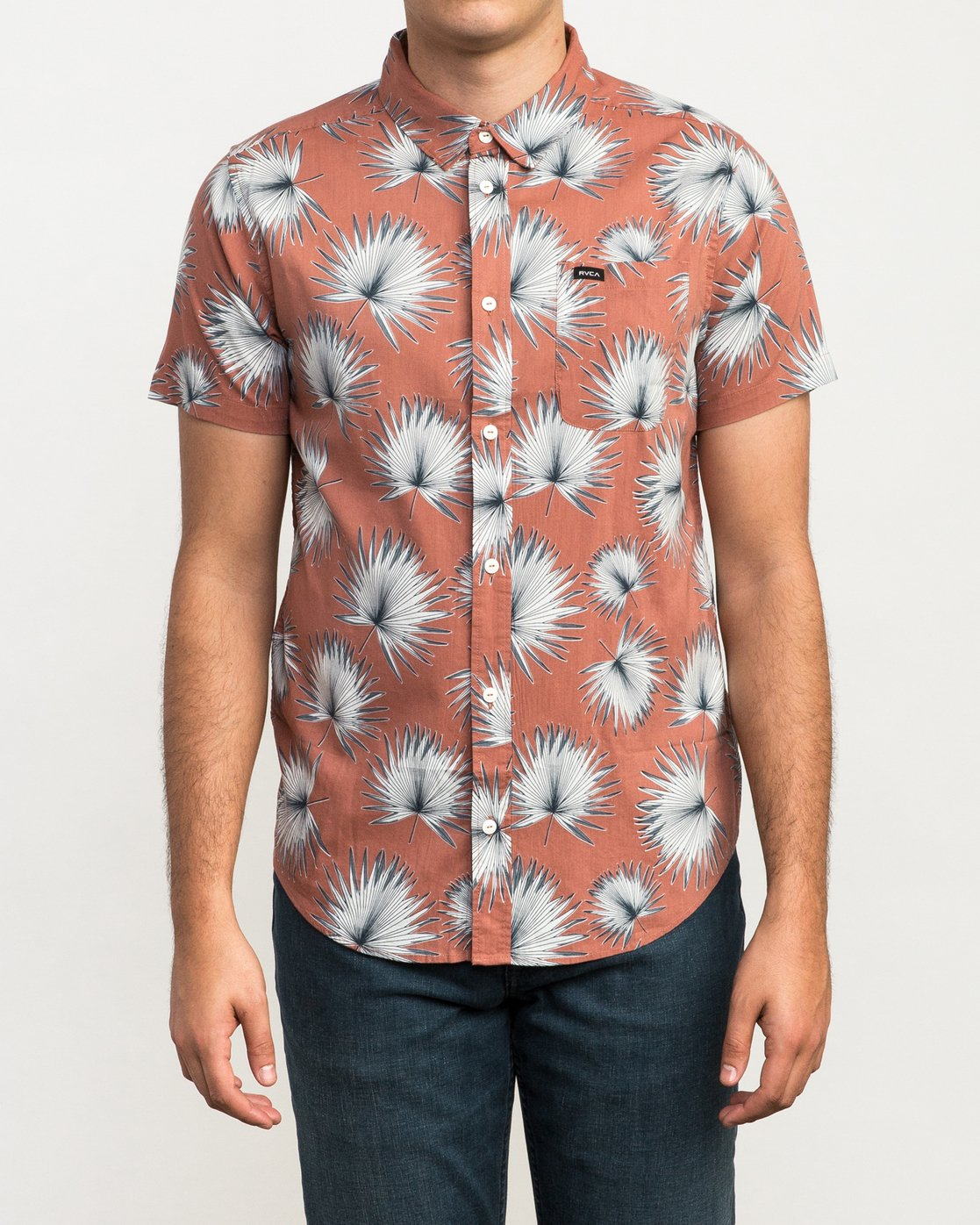 1 Palms Printed Button-Up Shirt Brown M512QRPA RVCA