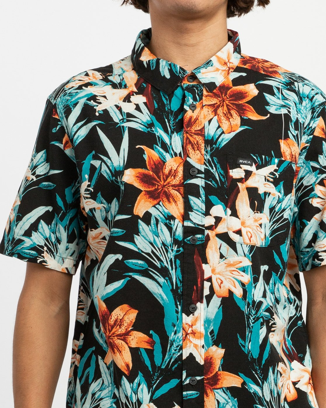 5 Montague Floral Button-Up Shirt Black M513TRMF RVCA