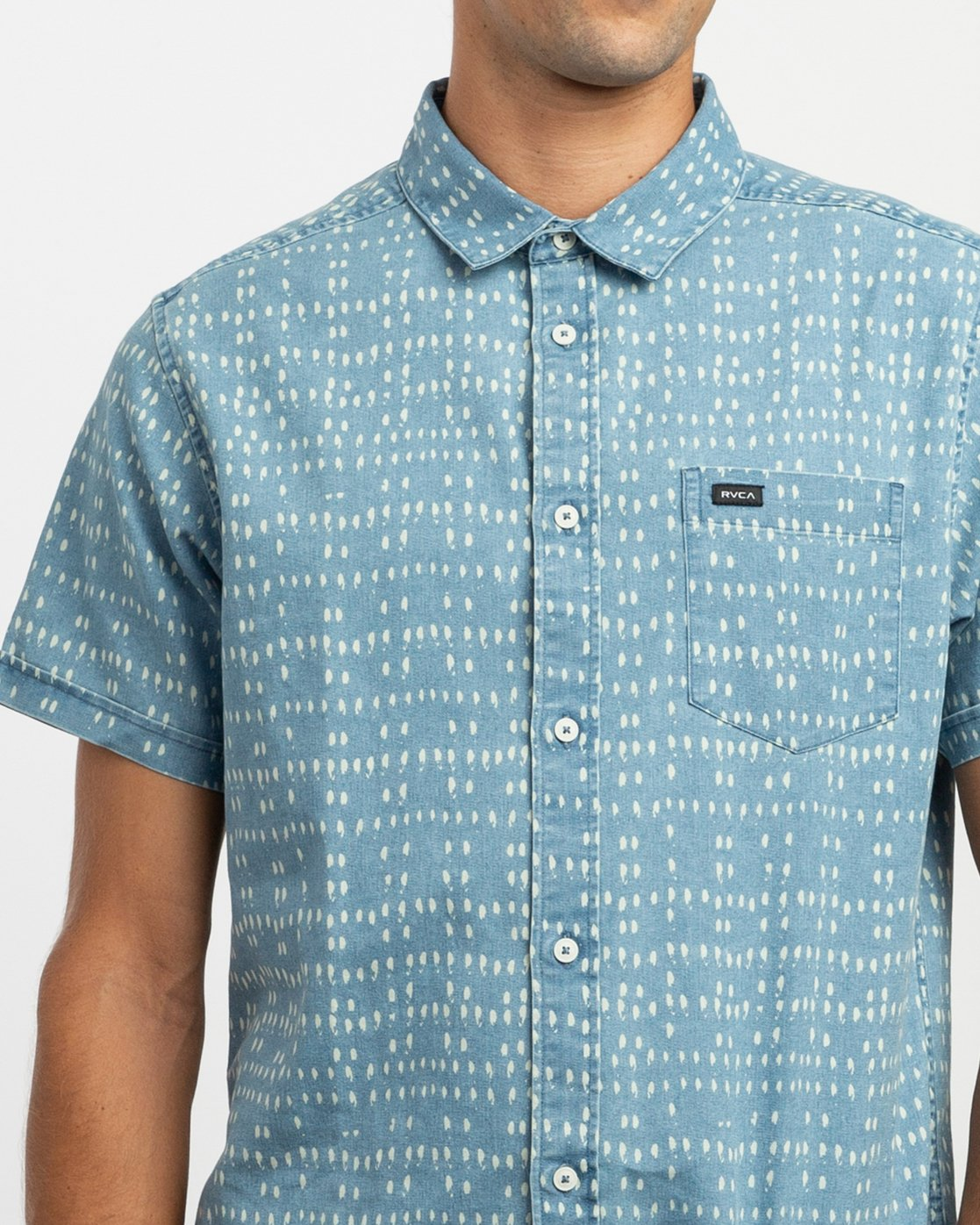 4 Nakama Dot Button-Up Shirt Blue M517TRND RVCA