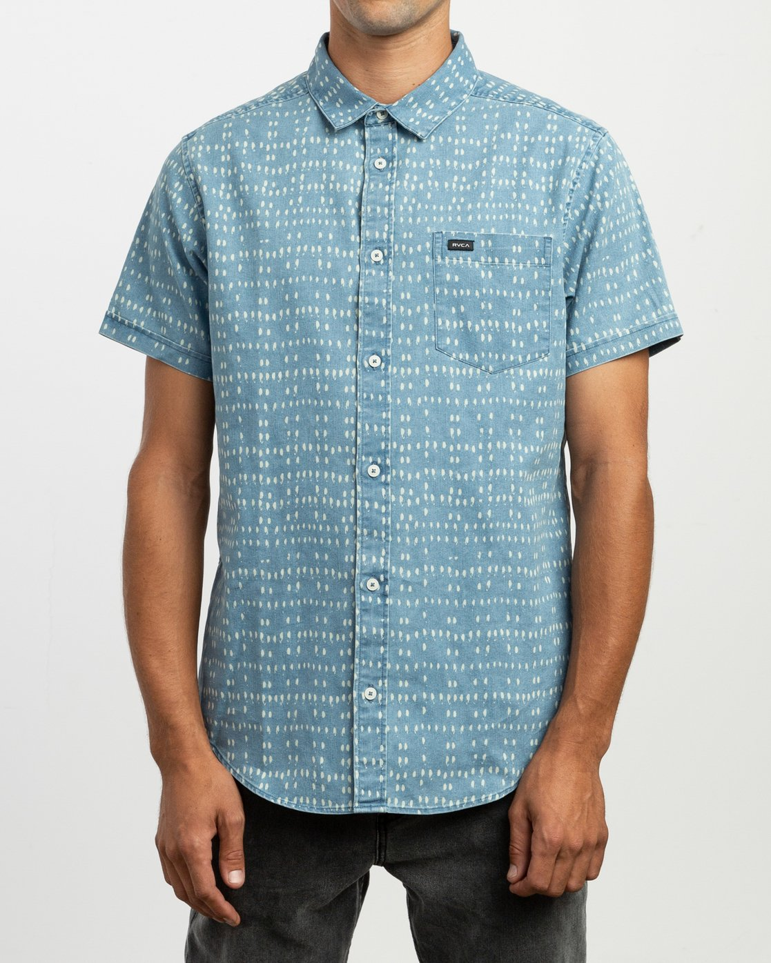 1 Nakama Dot Button-Up Shirt Blue M517TRND RVCA