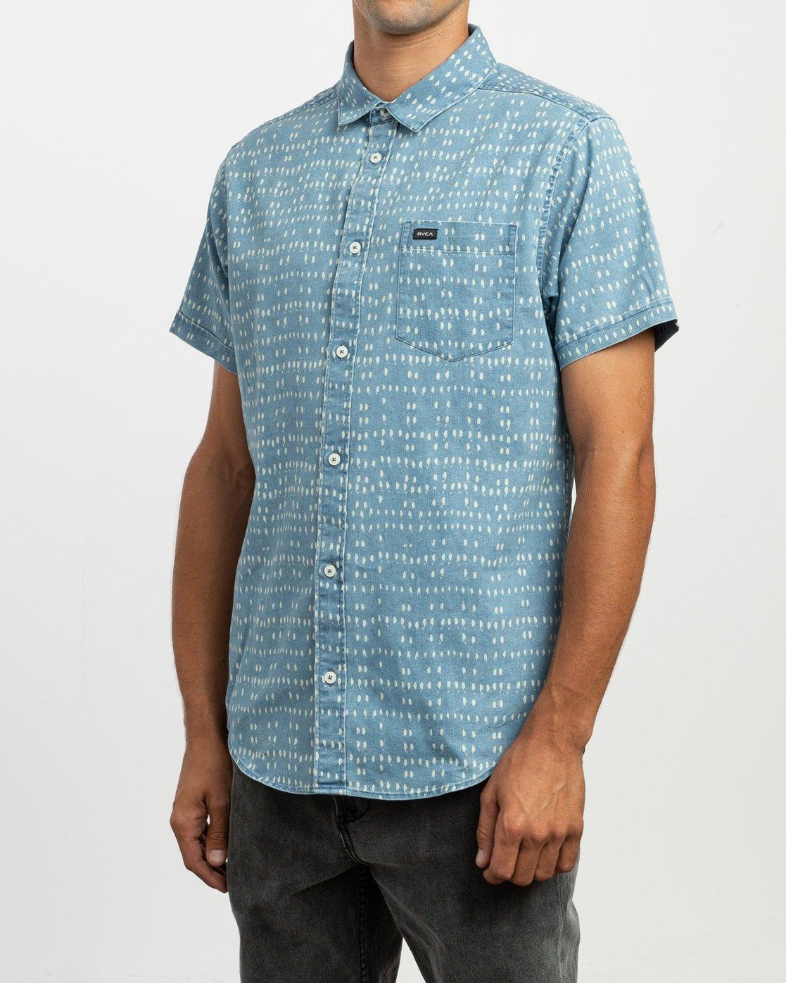 2 Nakama Dot Button-Up Shirt Blue M517TRND RVCA