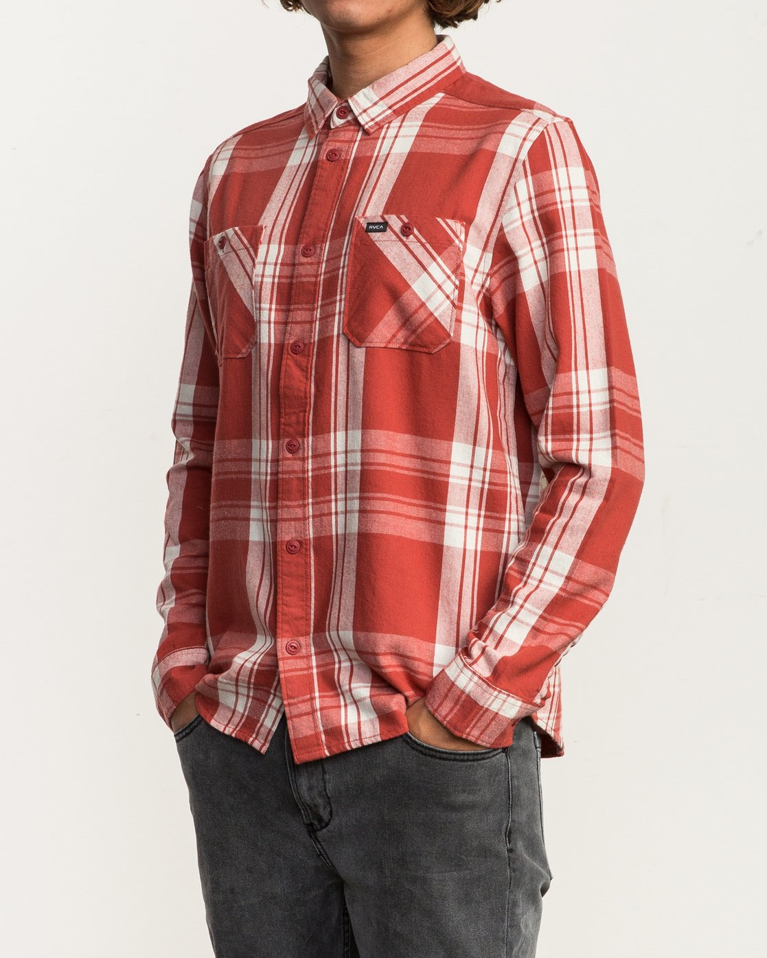 2 Wanted Lightweight Plaid Flannel Red M551SRWA RVCA