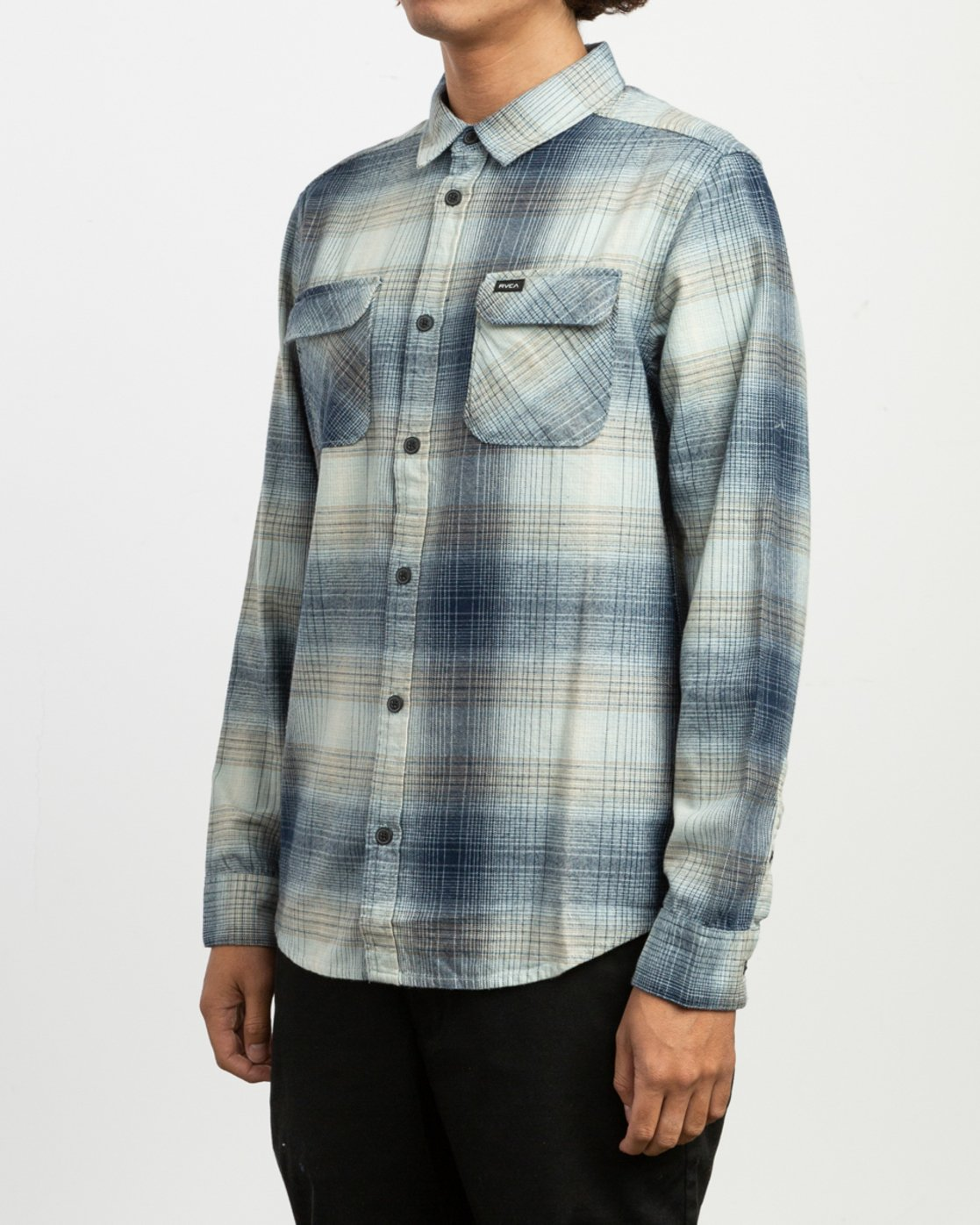 3 Muir Plaid Long Sleeve Flannel Blue M552TRMF RVCA