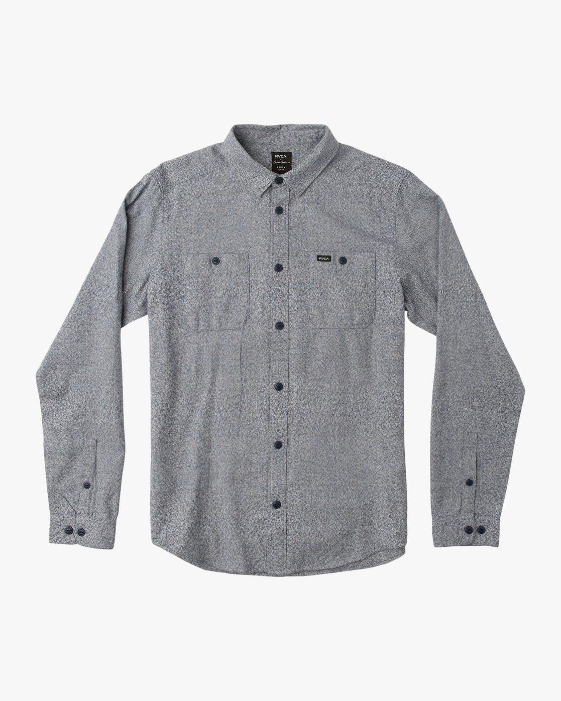 0 Twisted Long Sleeve Button-Up Shirt Blue M553QRTW RVCA