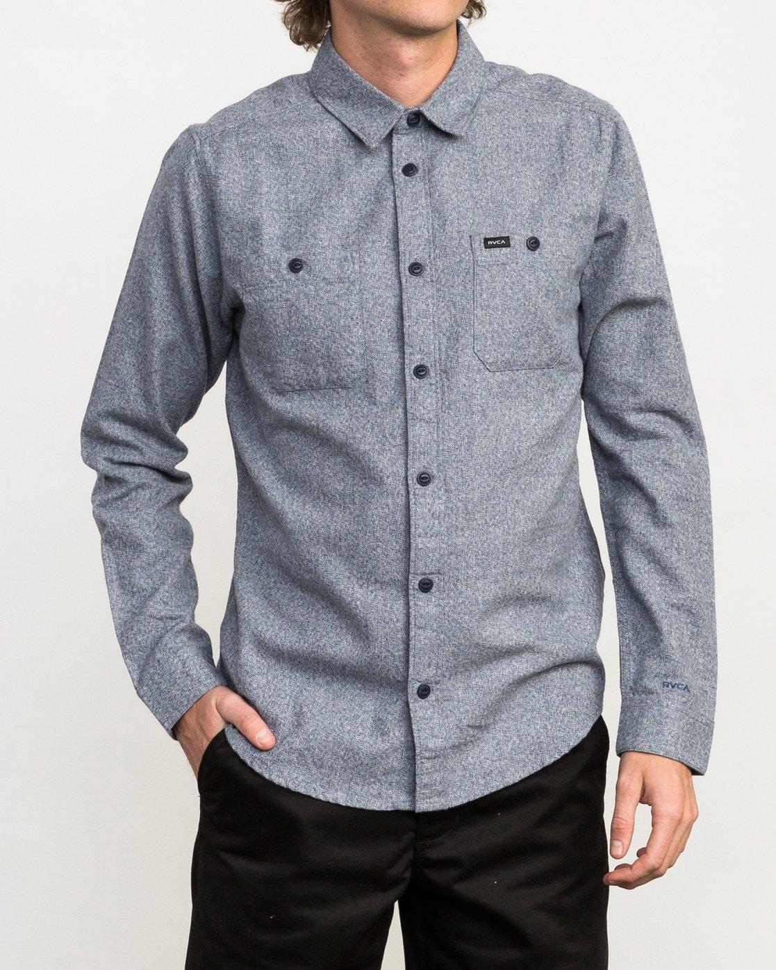 1 Twisted Long Sleeve Button-Up Shirt Blue M553QRTW RVCA