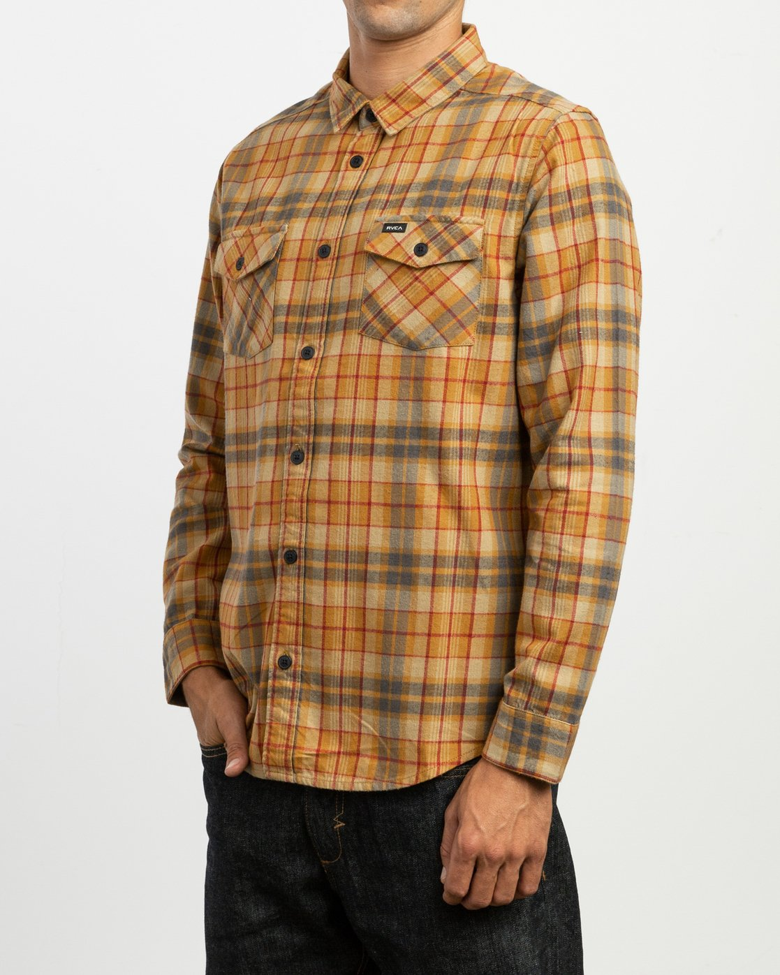 2 Watt Plaid Long Sleeve Flannel Green M553TRWF RVCA