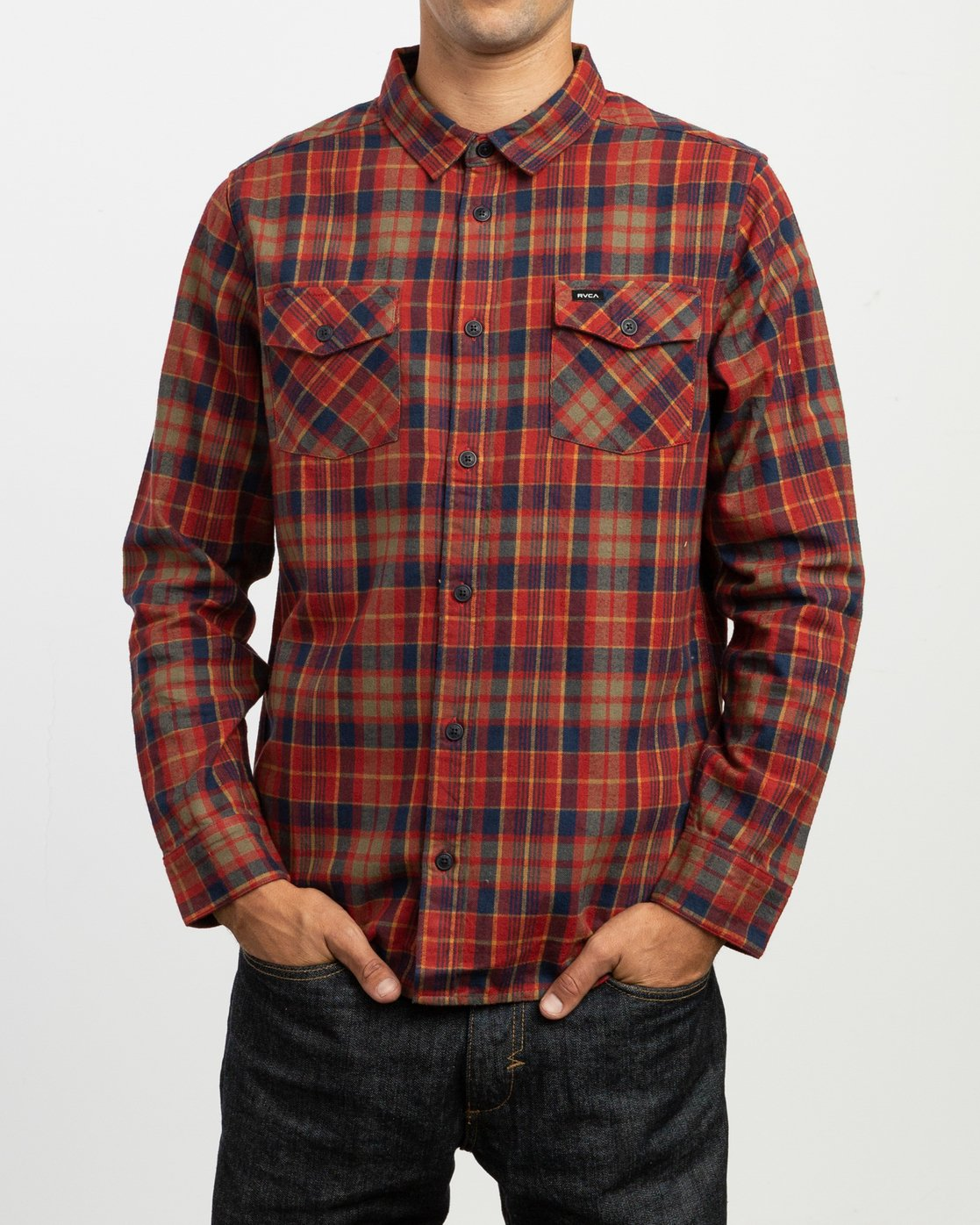 2 Watt Plaid Long Sleeve Flannel Red M553TRWF RVCA