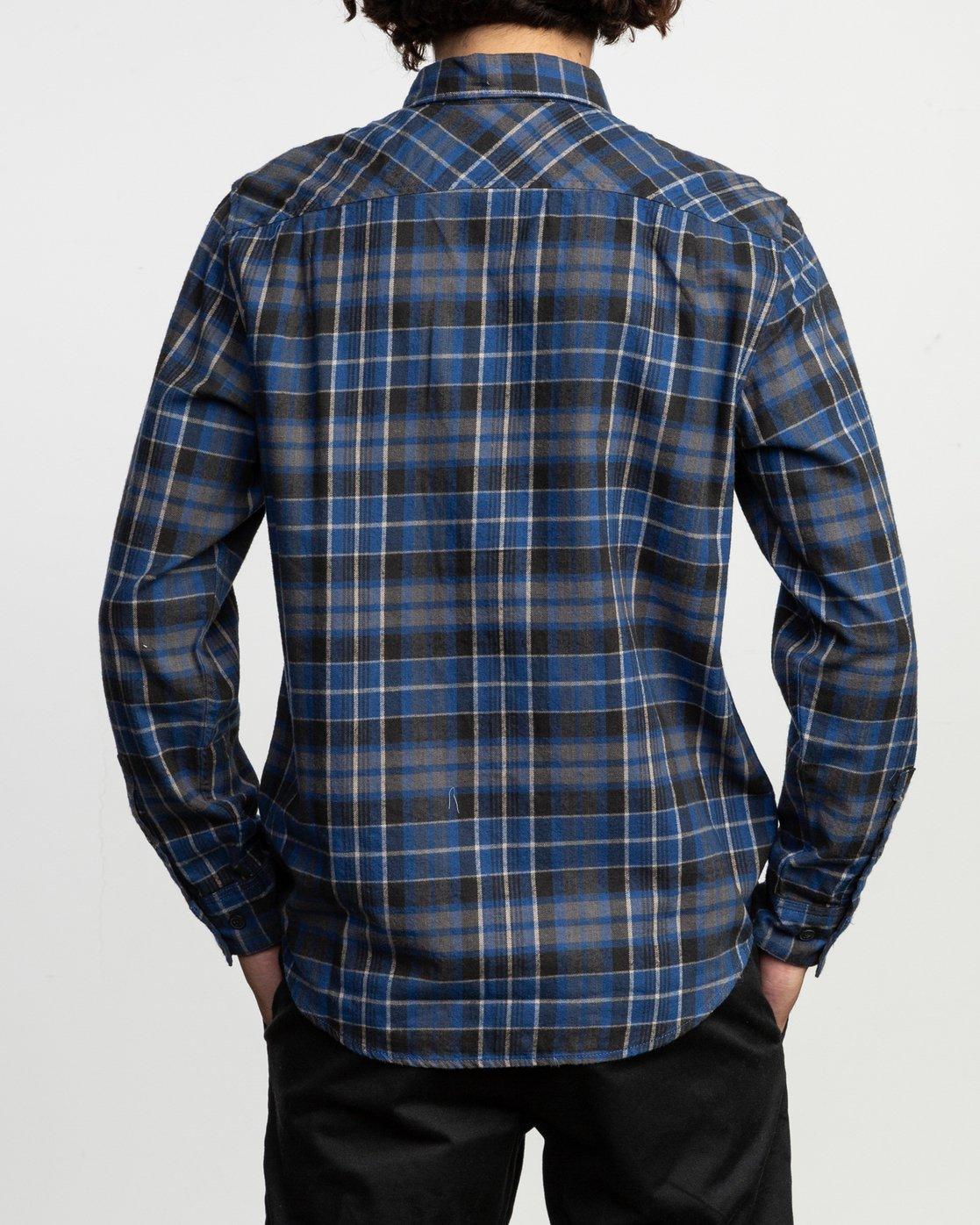 4 Watt Plaid Long Sleeve Flannel Blue M553TRWF RVCA