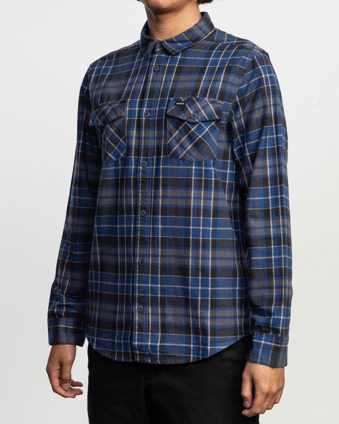 3 Watt Plaid Long Sleeve Flannel Blue M553TRWF RVCA