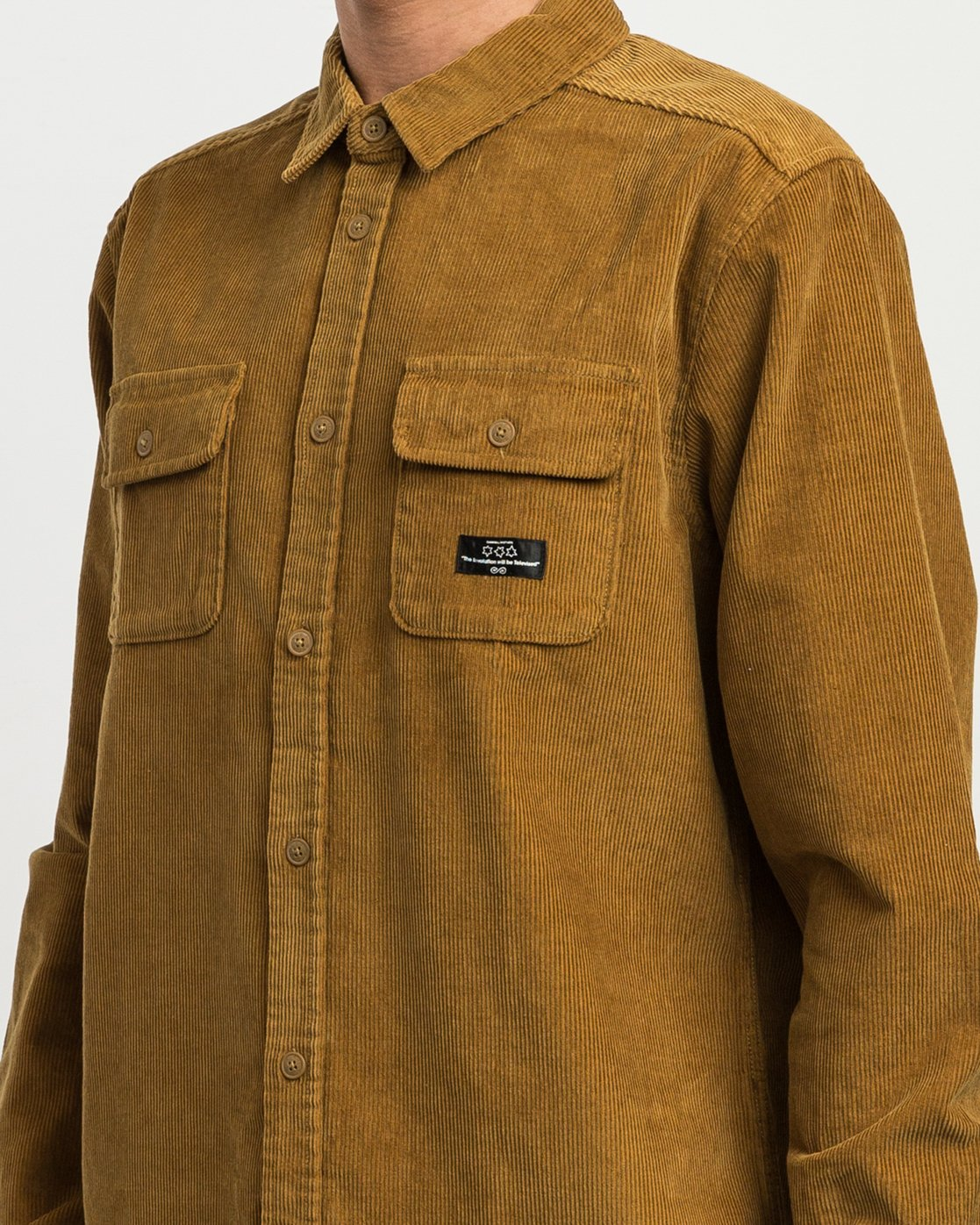 4 Campbell Corduroy Button-Up Shirt Brown M554SRCA RVCA
