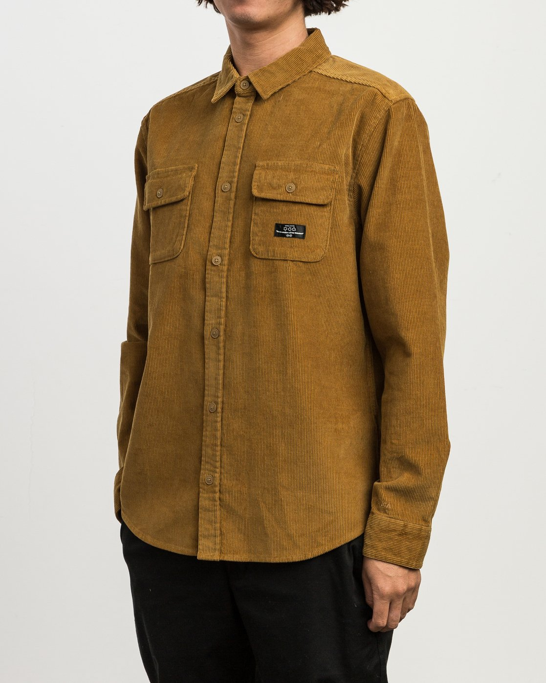 2 Campbell Corduroy Button-Up Shirt Brown M554SRCA RVCA