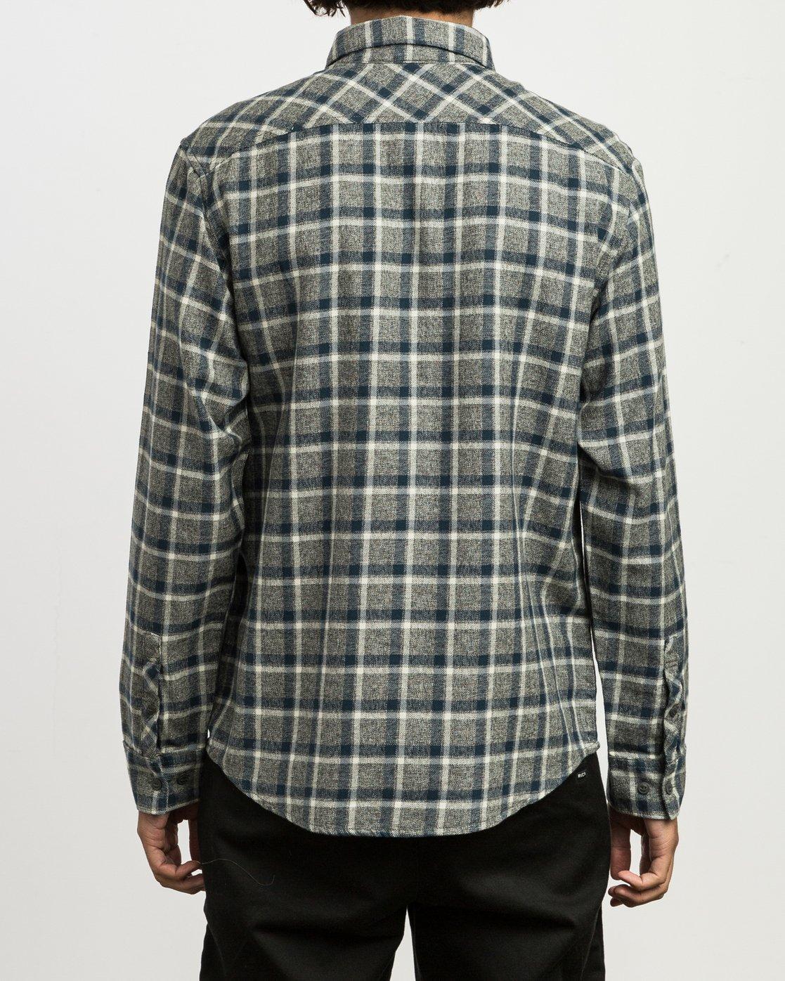 3 Hero Plaid Button-Up Shirt Black M557SRHE RVCA