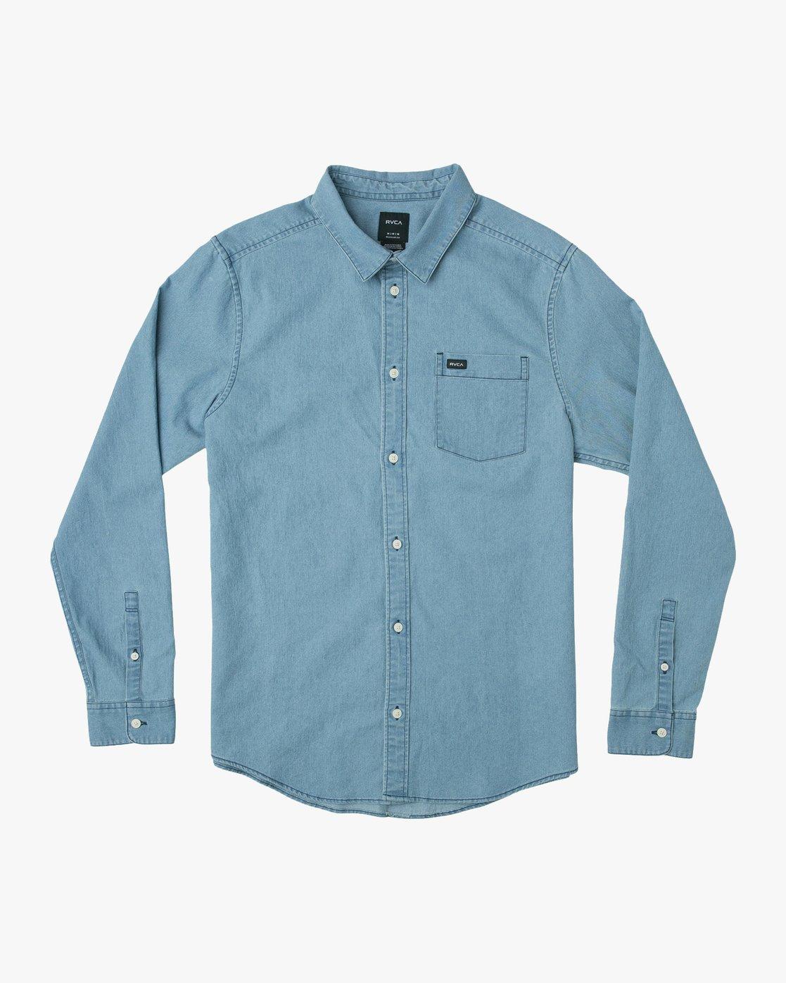 0 Nakama Long Sleeve Button-Up Shirt Blue M557TRND RVCA
