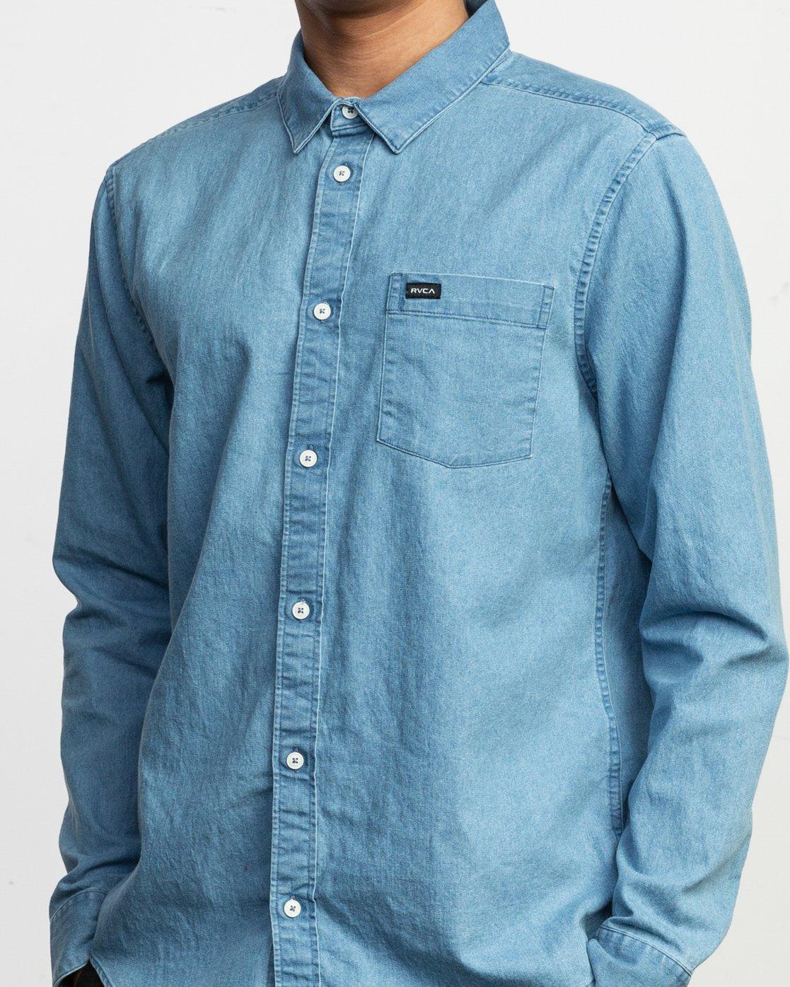 4 Nakama Long Sleeve Button-Up Shirt Blue M557TRND RVCA