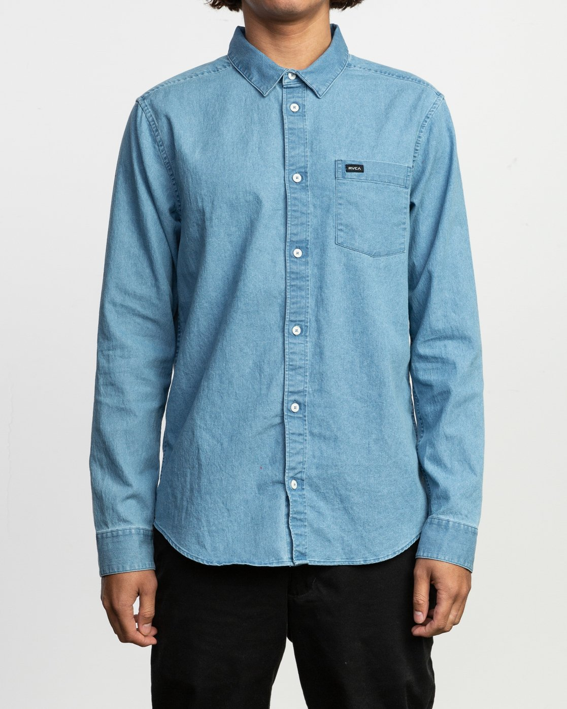 1 Nakama Long Sleeve Button-Up Shirt Blue M557TRND RVCA