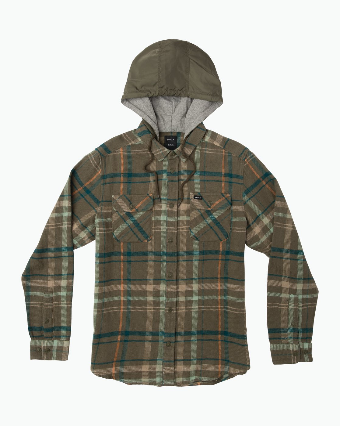 0 Essex Plaid Hooded Flannel Green M561SRSW RVCA