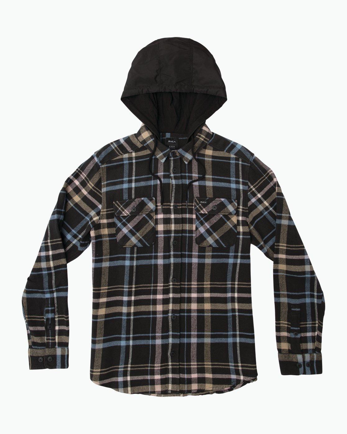 0 Essex Plaid Hooded Flannel Black M561SRSW RVCA
