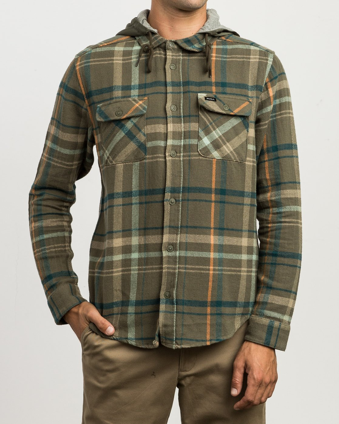 1 Essex Plaid Hooded Flannel Green M561SRSW RVCA