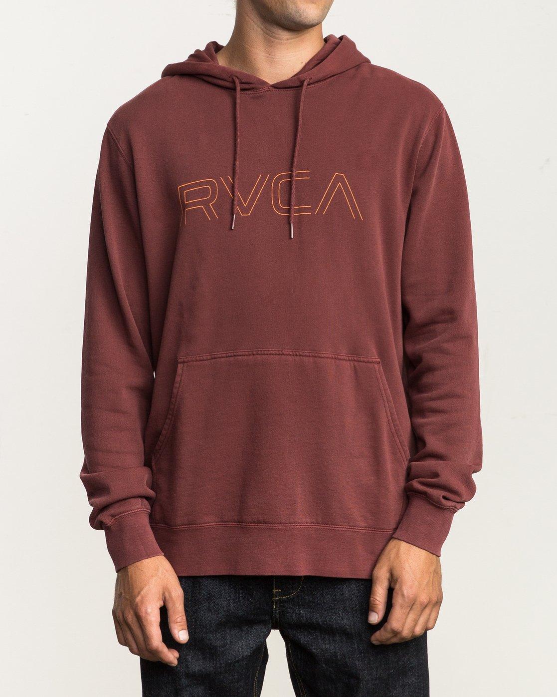 1 Big RVCA Pigment Hoodie Red M621SRBP RVCA