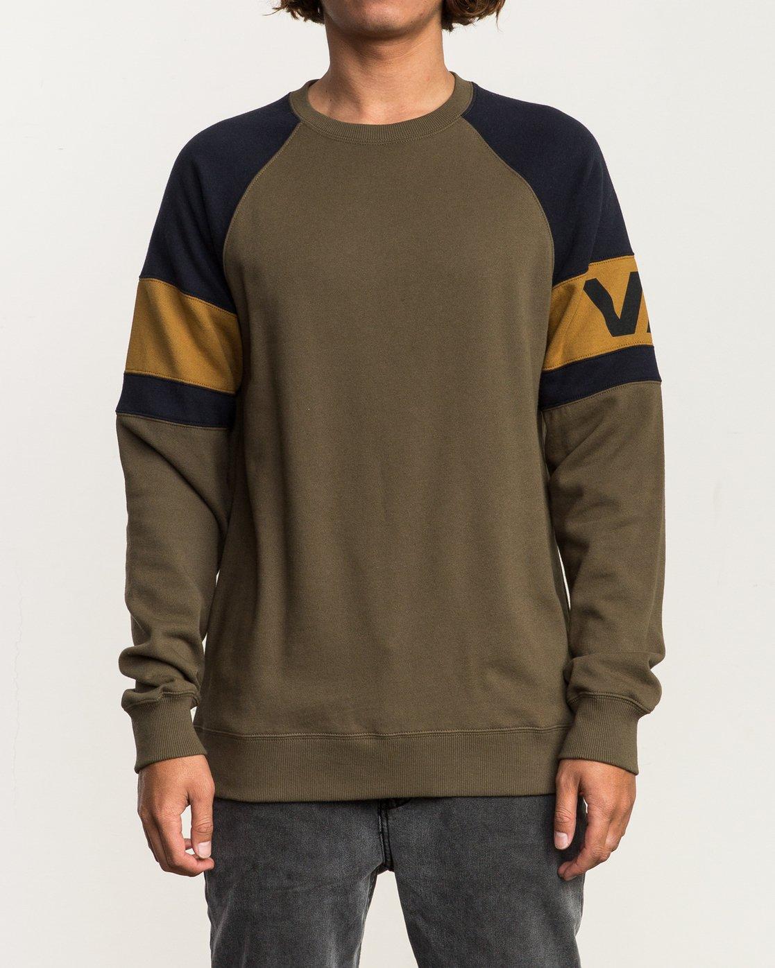 1 Benny Colorblocked Sweatshirt Green M640SRBC RVCA
