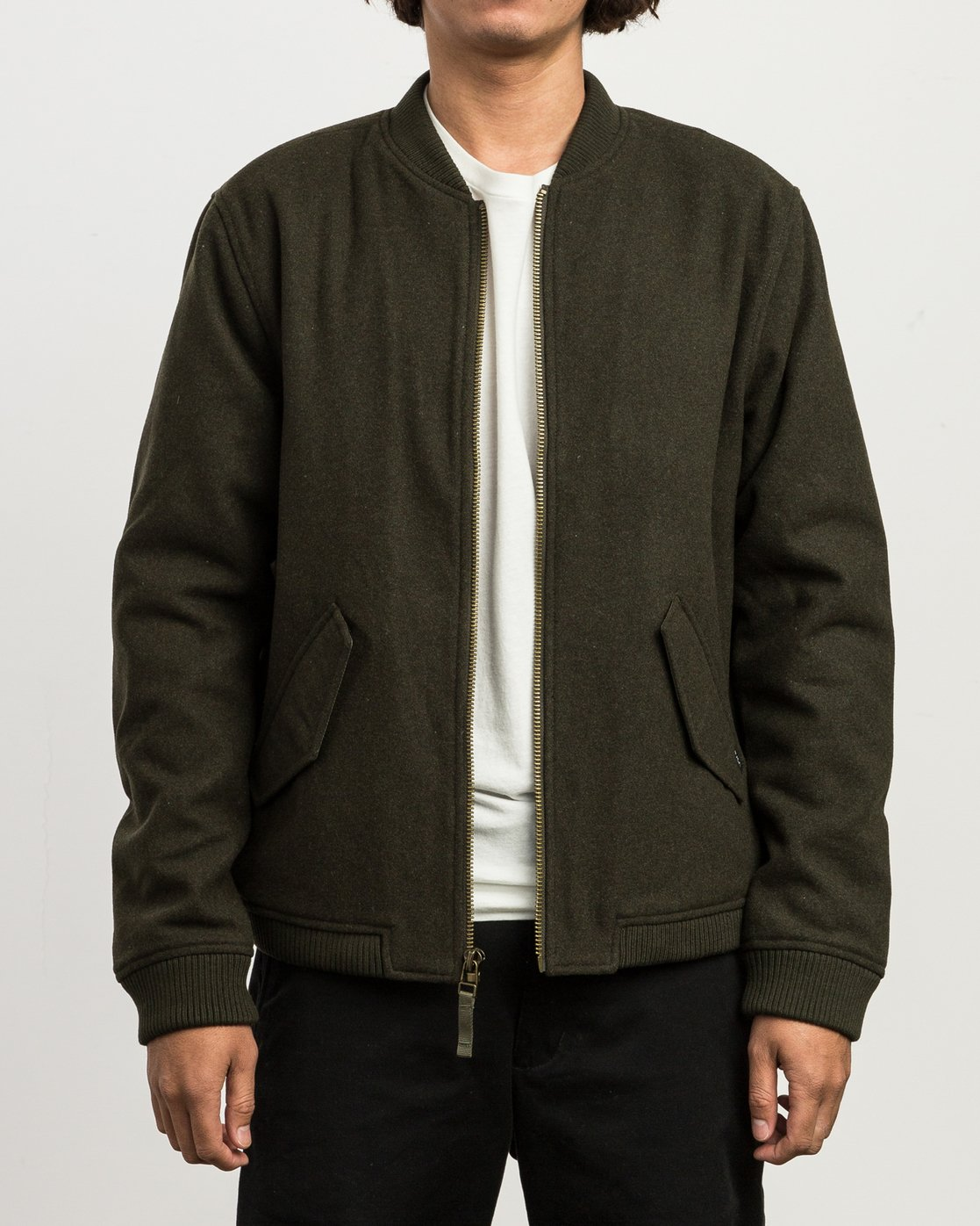 1 Collective Wool Bomber Jacket Green M704SRVO RVCA