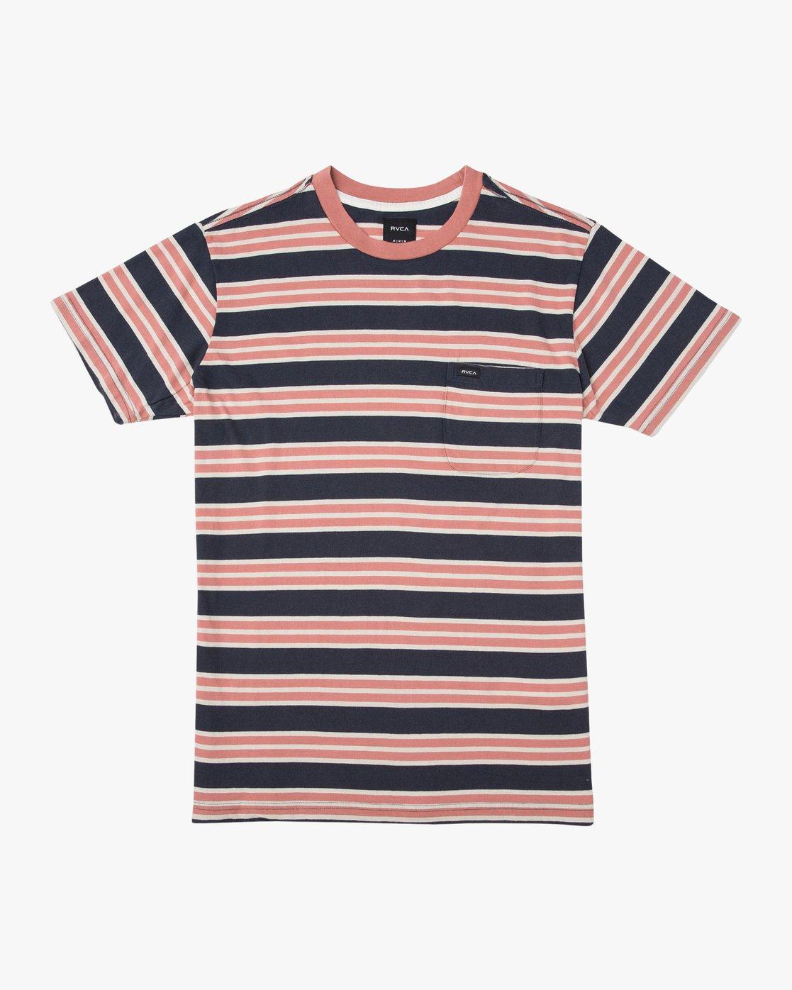 0 Lucas Striped Knit T-Shirt Blue M901TRLS RVCA