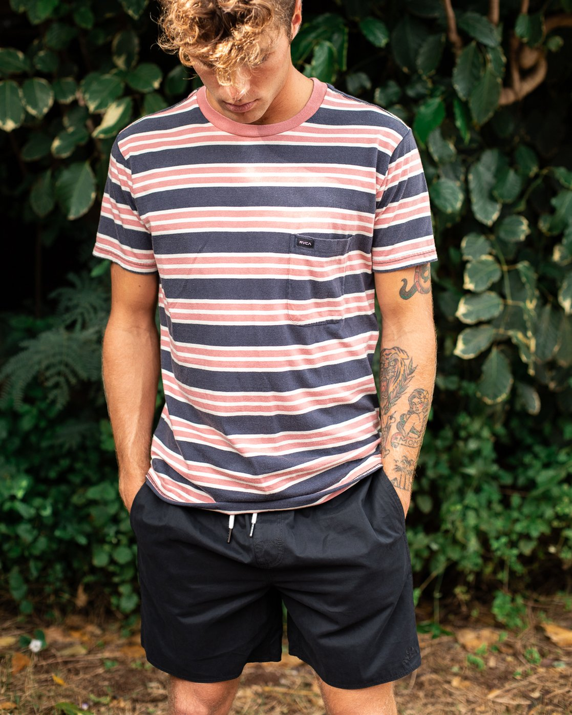 1 Lucas Striped Knit T-Shirt Blue M901TRLS RVCA
