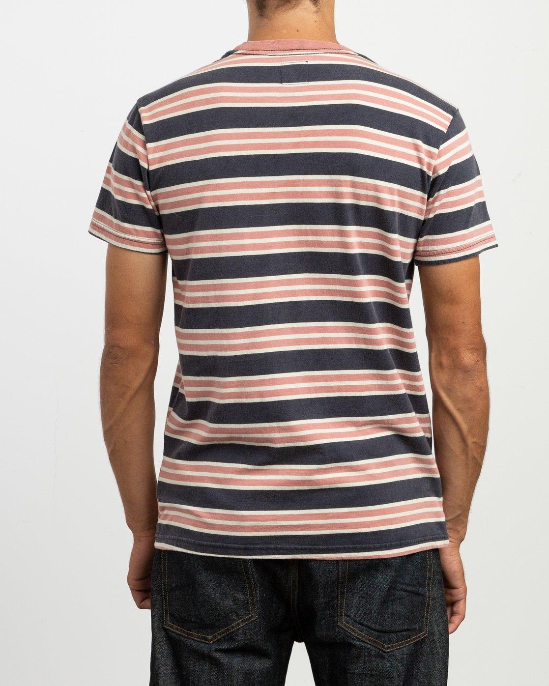 4 Lucas Striped Knit T-Shirt Blue M901TRLS RVCA