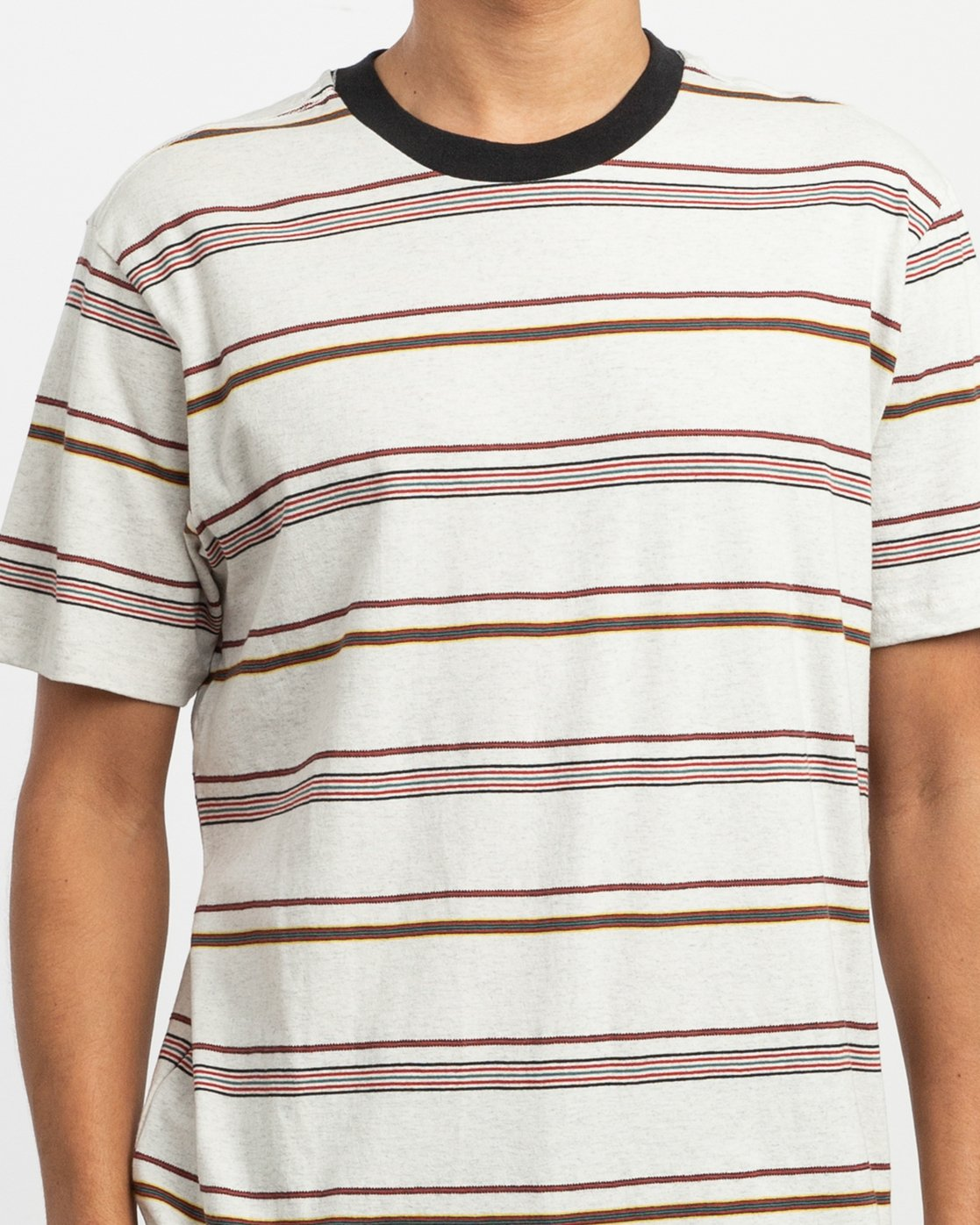 3 Avila Striped Knit T-Shirt White M903TRAS RVCA