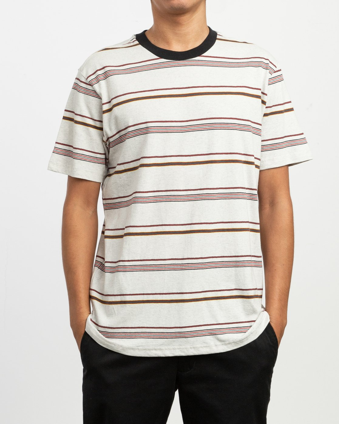 1 Avila Striped Knit T-Shirt White M903TRAS RVCA