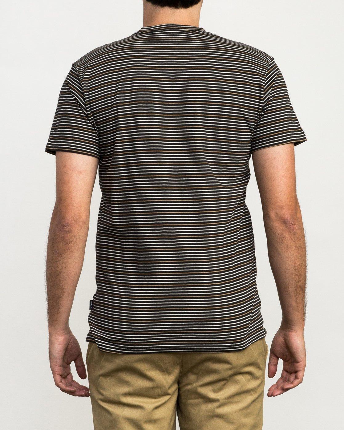 4 Curren Caples Benson Striped T-Shirt Black M908QRBS RVCA