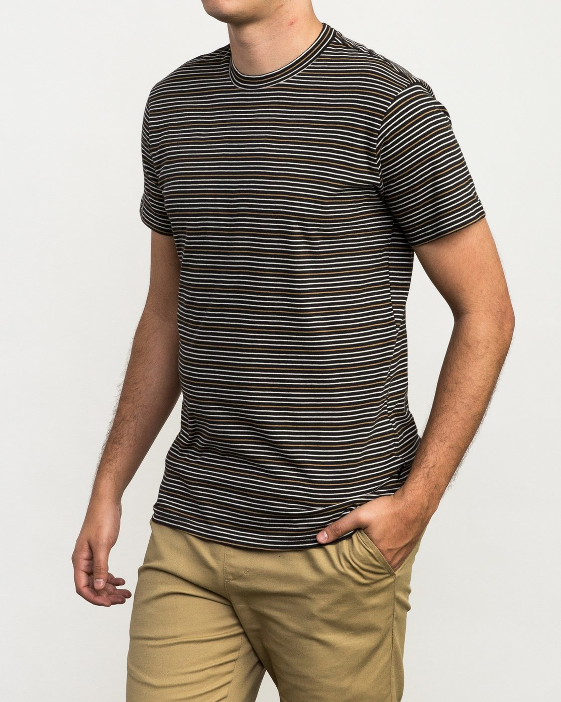 2 Curren Caples Benson Striped T-Shirt Black M908QRBS RVCA