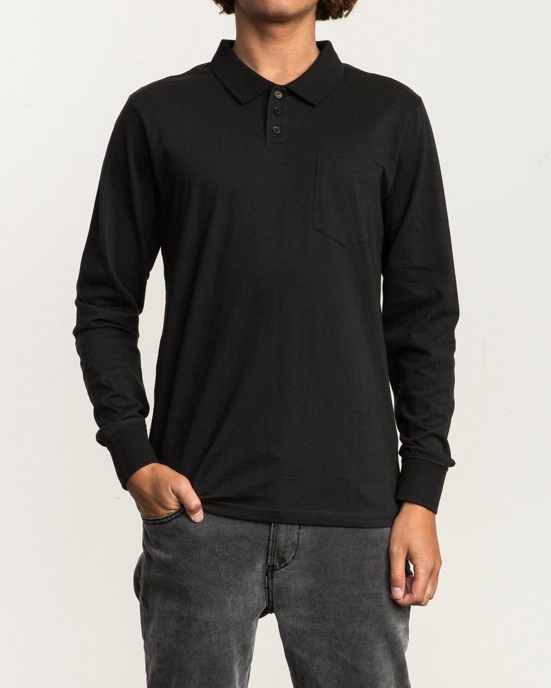 1 Hi Grade Long Sleeve Polo Black M951SRHP RVCA