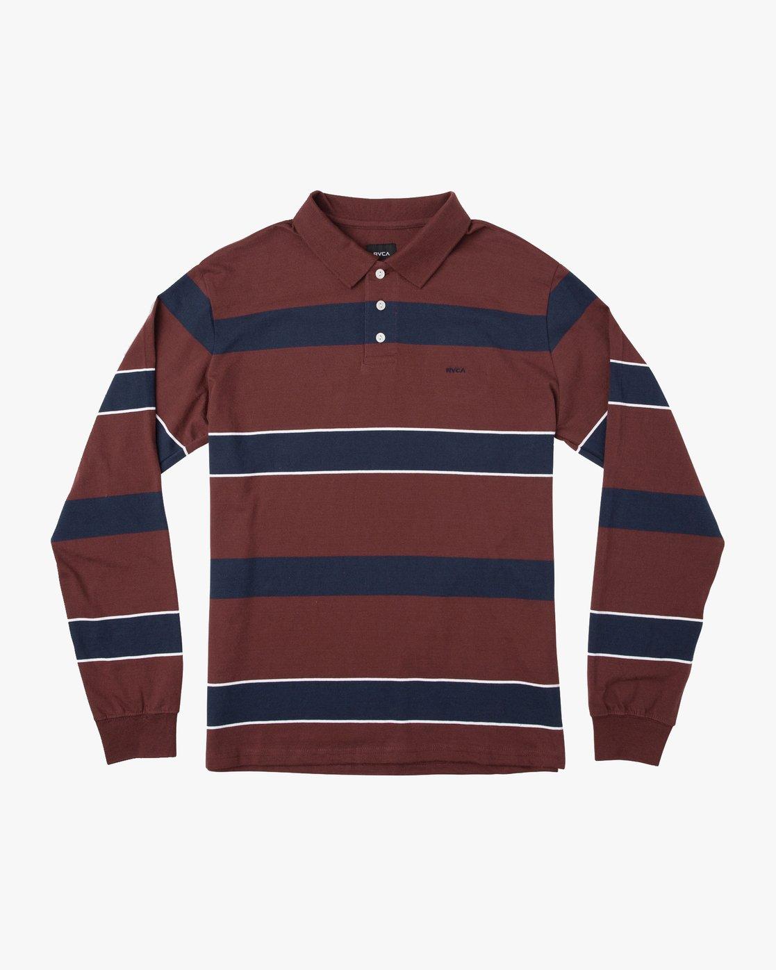 0 Darklands Striped Polo Shirt Red M951TRDP RVCA