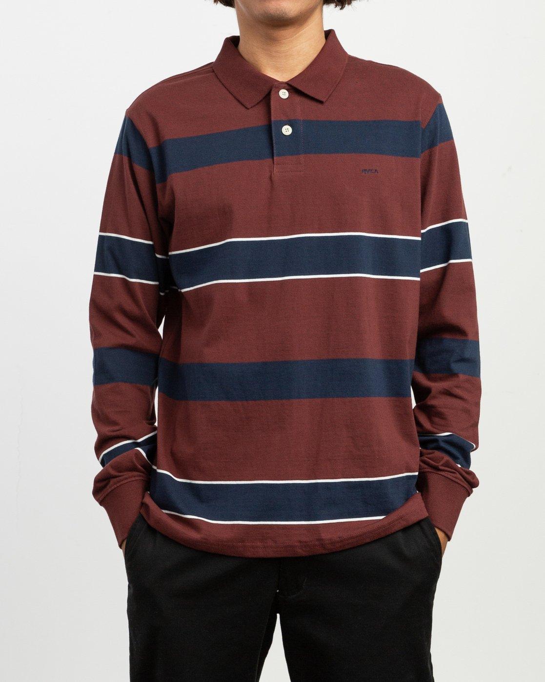 1 Darklands Striped Polo Shirt Red M951TRDP RVCA