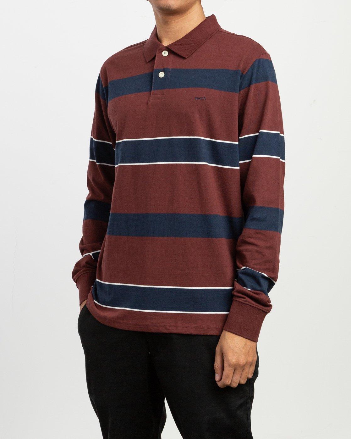 2 Darklands Striped Polo Shirt Red M951TRDP RVCA