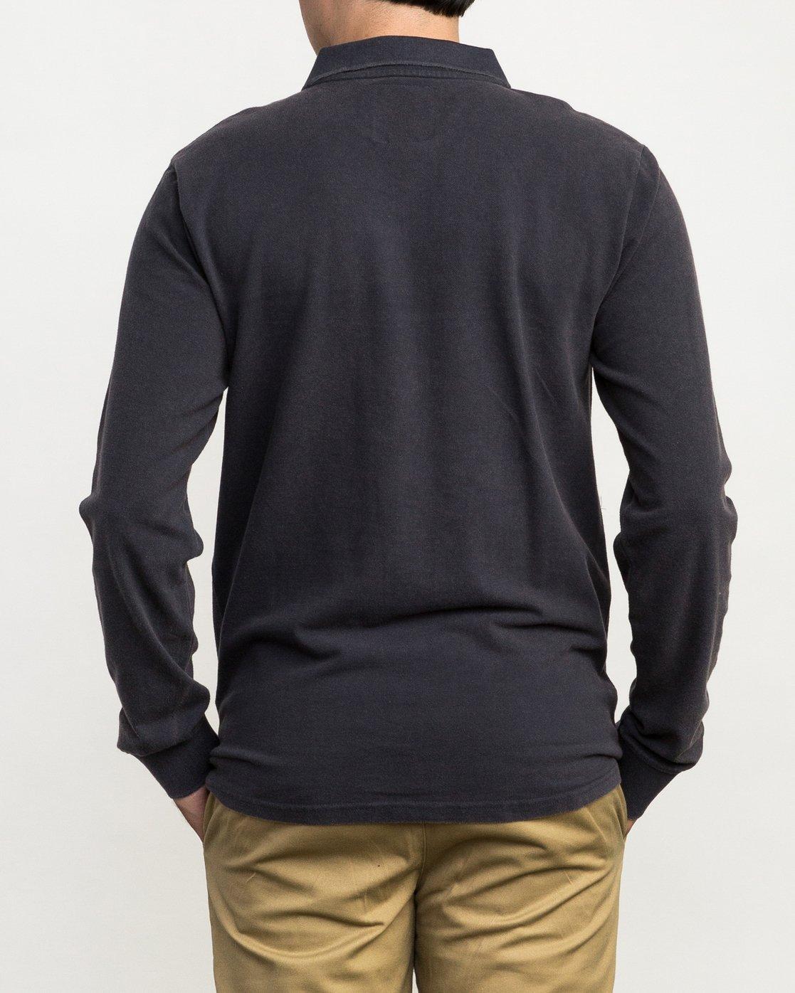 3 Andrew Reynolds Long Sleeve Polo Shirt Grey M954QRAP RVCA