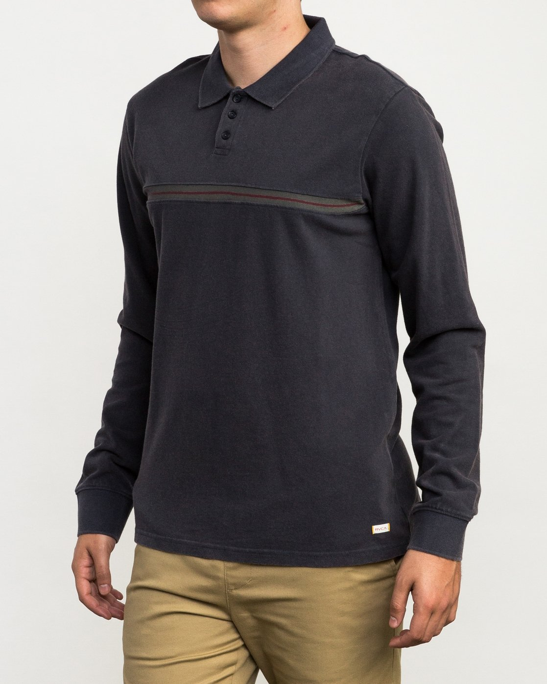 2 Andrew Reynolds Long Sleeve Polo Shirt Grey M954QRAP RVCA
