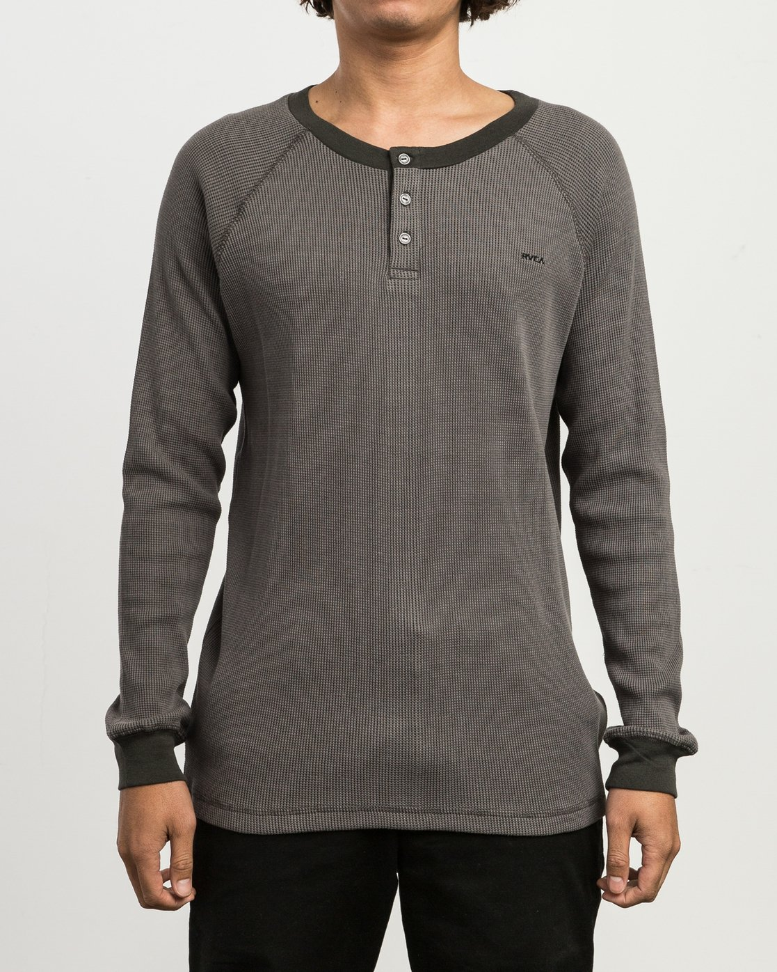 1 Moorside Thermal Henley Shirt Black M954SRMT RVCA
