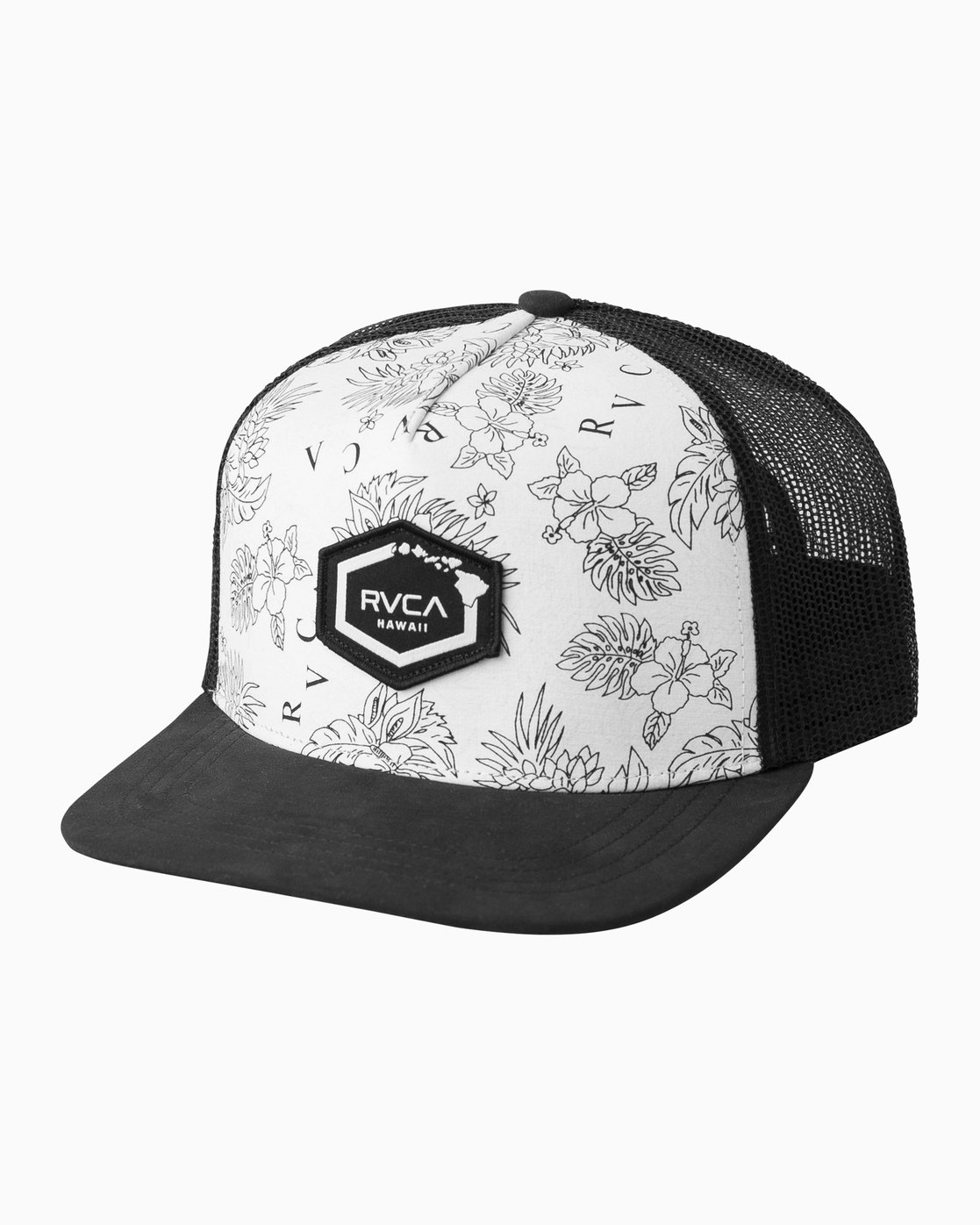 0 Hawaii Hex Patch Trucker Hat White MAHWQRHH RVCA 8862df2de09