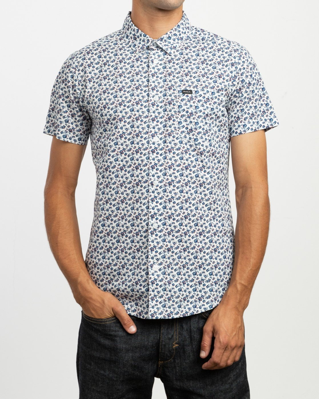 1 Porcelain Printed Short Sleeve Shirt White MK507POR RVCA