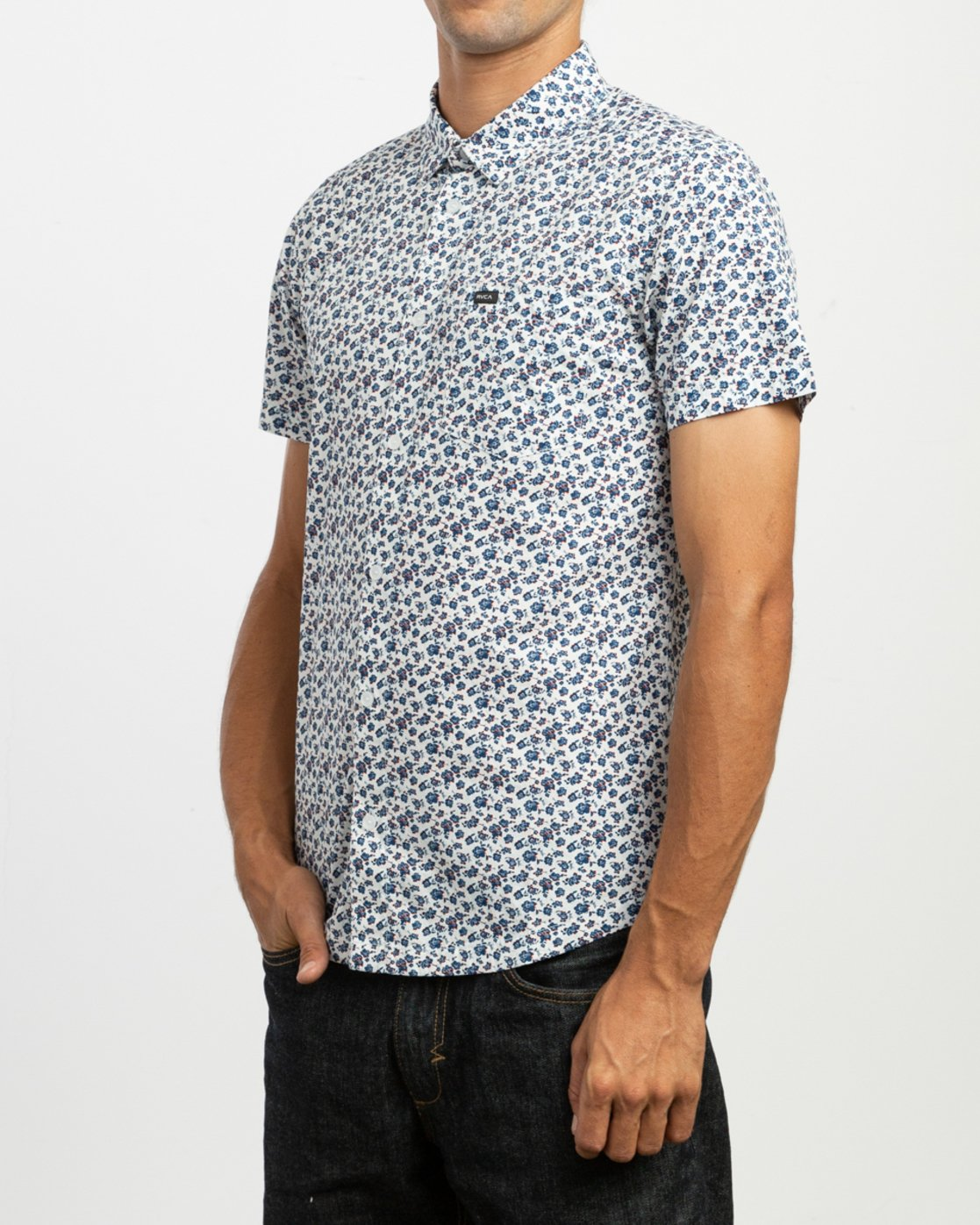 2 Porcelain Printed Short Sleeve Shirt White MK507POR RVCA