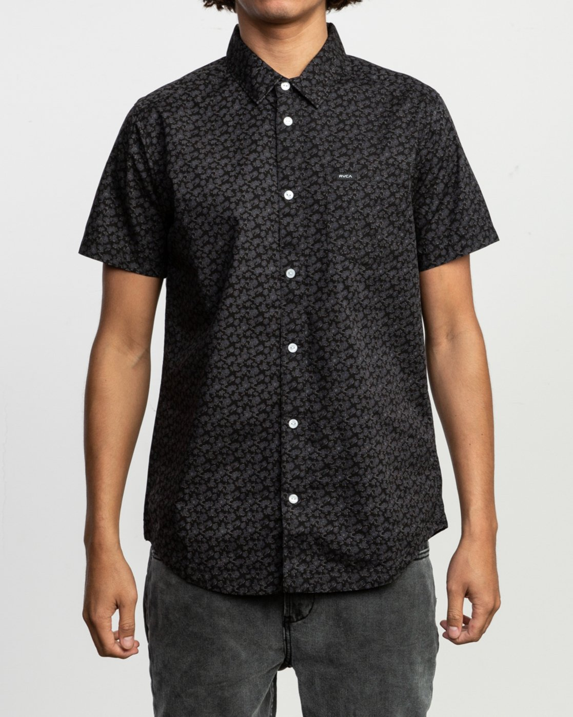1 Porcelain Printed Short Sleeve Shirt Black MK507POR RVCA