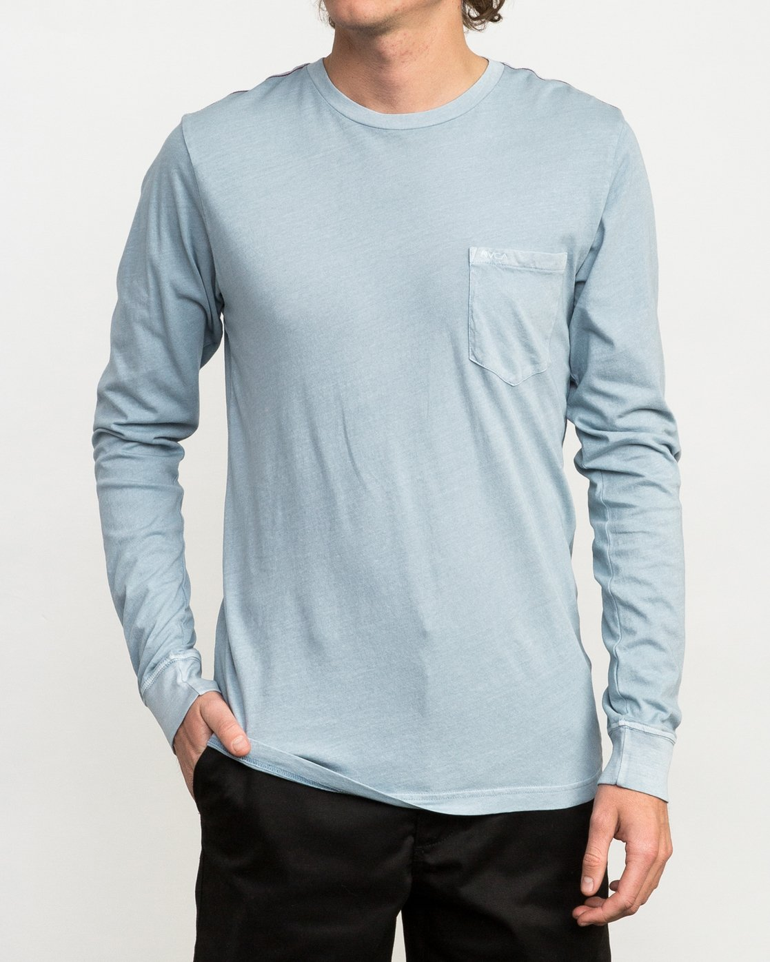 1 PTC Pigment Long Sleeve T-Shirt Blue ML921PPL RVCA