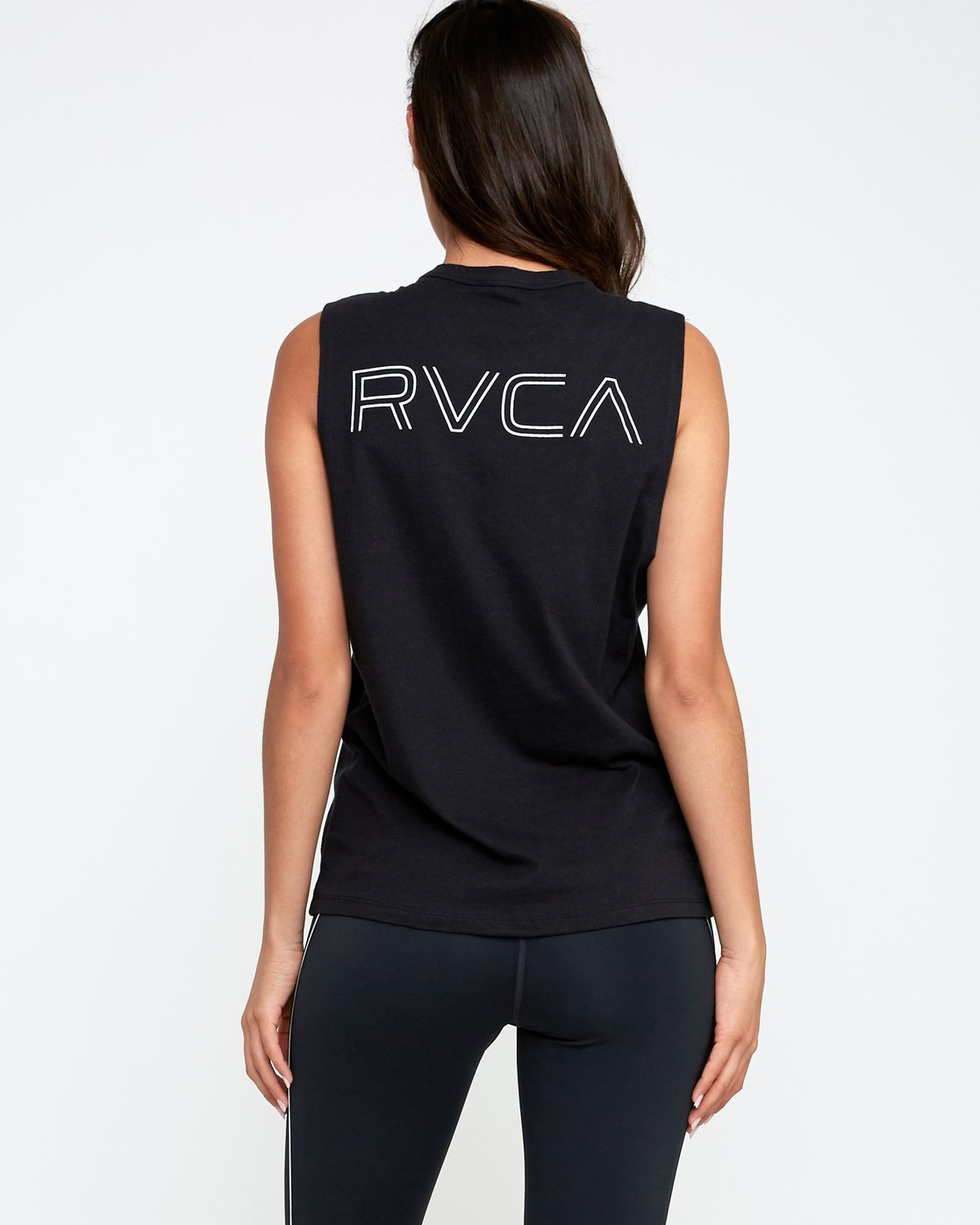 3 Train Sleeveless Sport Tank Top Black T902TRVT RVCA